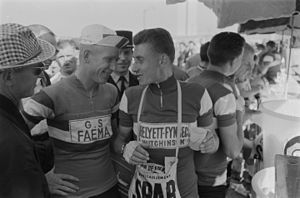 Helyett (cycling team) - Helyett–Fynsec–Hutchinson rider Jacques Anquetil (right) at the 1961 Tour de France