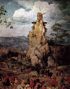 The Procession to Calvary (Bruegel) - Detail 1 from top left