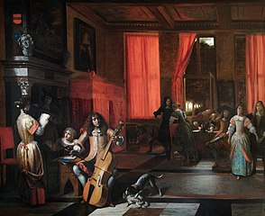 Musical company in an interior