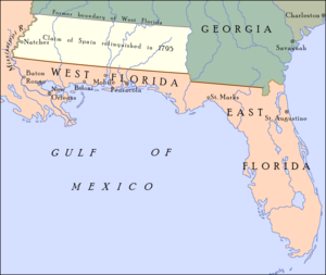 """Pinckney's Treaty - The boundary between the United States and Spanish Florida as set by """"Pinckney's Treaty"""" (effective August 3, 1796) at 31°N, and Spain relinquished its claim on all territory north from that line to 32° 22′ to the United States."""