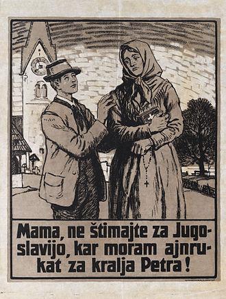 Carinthian plebiscite, 1920 - Image: Plakat ob plebiscitu Mama, ne štimajte za Jugoslavijo 1920