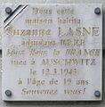 Plaque Suzanne Lasne, 23 avenue du Docteur-Arnold-Netter, Paris 12.jpg