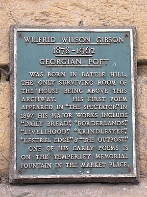 Wilfrid Wilson Gibson - Memorial plaque in Hexham.