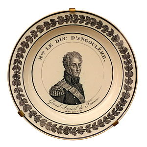 Louis Antoine, Duke of Angoulême - Faience plate celebrating the Duke of Angoulême as Admiral of France. On display at the Musée national de la Marine, Paris.