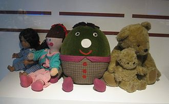 Play School (UK TV series) - The toys: Poppy, Jemima, Humpty, Little Ted, Big Ted, on display at the National Science and Media Museum