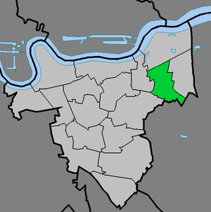 Plumstead - Plumstead ward (green) within the Royal Borough of Greenwich (light grey)
