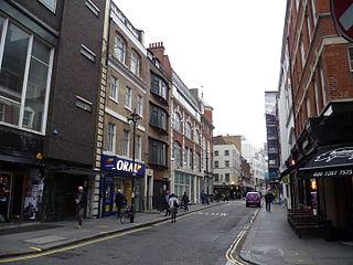 Poland Street thoroughfare in Soho, London