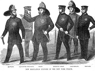 Police uniforms of the United States - The new 1854 regulation uniforms of the New York City Municipal Police were the first and earliest police uniforms worn in the United States