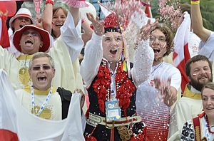 World Youth Day 2016 - Polish pilgrims celebrate the announcement (2013) that the World Youth Day 2016 will take place in Kraków, Poland.