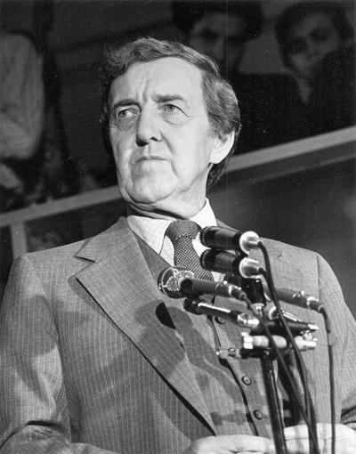 Portrait of Edmund Muskie, looking up