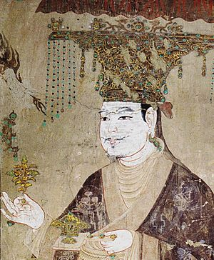 Kingdom of Khotan - Portrait of Li Shengtian, the king of Khotan from Five Dynasties to early Northern Sung period, Mogao Caves, Dunhuang, Gansu province, 10th century