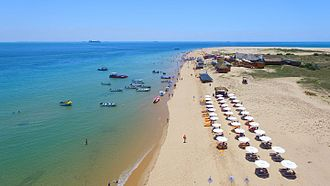 Maputo Bay - An aerial view of Portuguese Island, a small uninhabited island, located 10 km from Maputo. The island is a popular tourist location in the area.