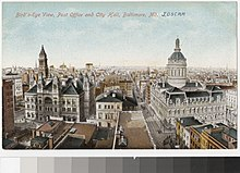 A post card showing a cityscape, from slightly after the turn of the 20th century