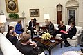 President George H. W. Bush meets with Prime Minister Margaret Thatcher and NATO Secretary General Manfred Woerner in the Oval Office.jpg