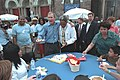 President George W. Bush Passes out Birthday Cake with Philadelphia Mayor John Street at an Independence Day Celebration.jpg