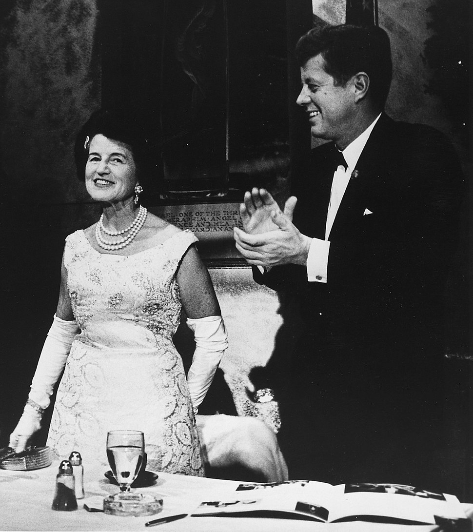 President Kennedy with his mother crop