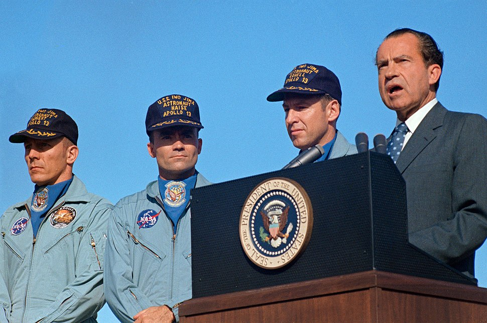 President Richard Nixon speaks before awarding the Apollo 13 astronauts the Presidential Medal of Freedom