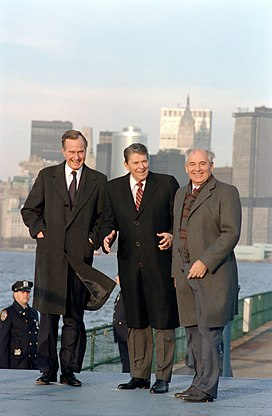 President Ronald Reagan and Vice President George H. W. Bush meet with Soviet General Secretary Mikhail Gorbachev on Governor's Island New York.jpg