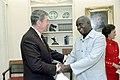 President Ronald Reagan shaking hands with President Kenneth Kaunda of Zambia.jpg