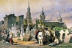 Preziosi - Turnul şi strada Bărăţiei, 1868.jpg