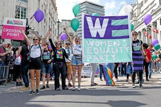 Women's Equality Party - Members of the Women's Equality Party at Trafalgar Square during the Pride in London 2016 parade.