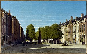 Confrerie Pictura - Prinsegracht in The Hague, ± 1850, by Jan Weissenbruch