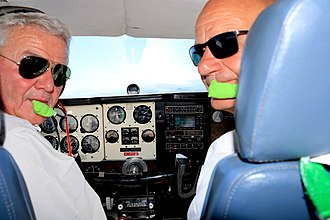 Private aviation - Private pilot (l) and passenger (r) in a Beechcraft A36 near Spiegelberg, Namibia (2016)