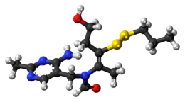 Ball-and-stick model of the prosultiamine molecule