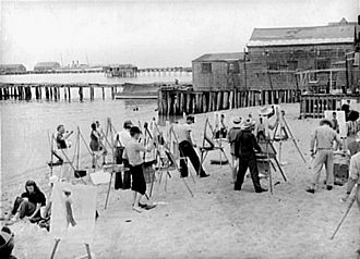 Provincetown, Massachusetts - Beachfront art class, 1940