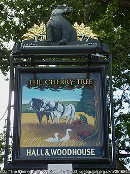 Pub sign at The Cherry Tree, Copthorne Bank (Geograph 2516844 by Shazz)