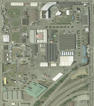 Washington State Fair - This 2005 aerial photo of the Washington State Fairgrounds shows the fair's permanent structures. SR-512 curves across the southeast corner of this photo; SR-161 is its eastern edge.