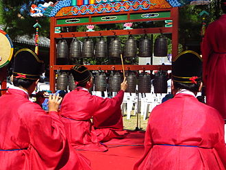 Bianzhong - Korean pyeonjong - Confucian ritual at Munmyo Shrine, Sungkyunkwan seowon