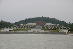 Taesongsan - The Revolutionary Martyrs' Cemetery (foreground) is located on the west side of Taesŏngsan