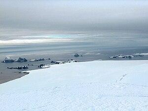 View from Miziya Peak to Pyramid Island (center)