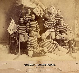 Quebec Bulldogs - Quebec Hockey Club in 1891–92. Players are Bertram Patton, Herbert Bignell, Arthur Dickson Scott, Charles Smith, Arthur Edward Scott, Herbert Scott, Robert Davidson and David Watson.