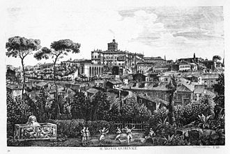 Quirinal Hill - An etching of the Hill, crowned by the mass of the Palazzo del Quirinale, from a series I Sette Colli di Roma antica e moderna published in 1827 by Luigi Rossini (1790–1857): His view, from the roof of the palazzo near the Trevi Fountain that now houses the Accademia di San Luca, substituted an imaginary foreground garden for the repetitious roofscape.