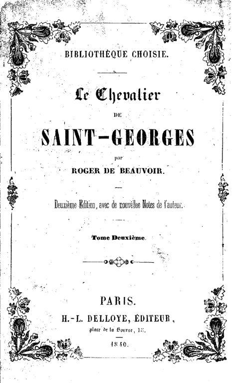 Filer De Beauvoir Le Chevalier De Saint Georges 2v2 1840vu