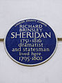 RICHARD BRINSLEY SHERIDAN 1751-1816 dramatist and statesman lived here 1795-1802.JPG