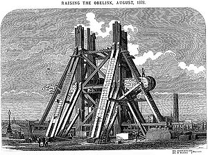 1878 in science - August – Cleopatra's Needle (horizontal) being raised in London.