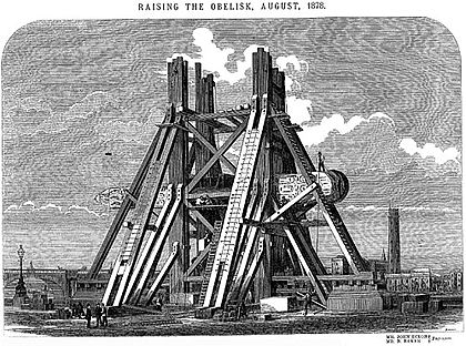 January-September - Cleopatra's Needle erected in London. Raising the obelisk.jpg