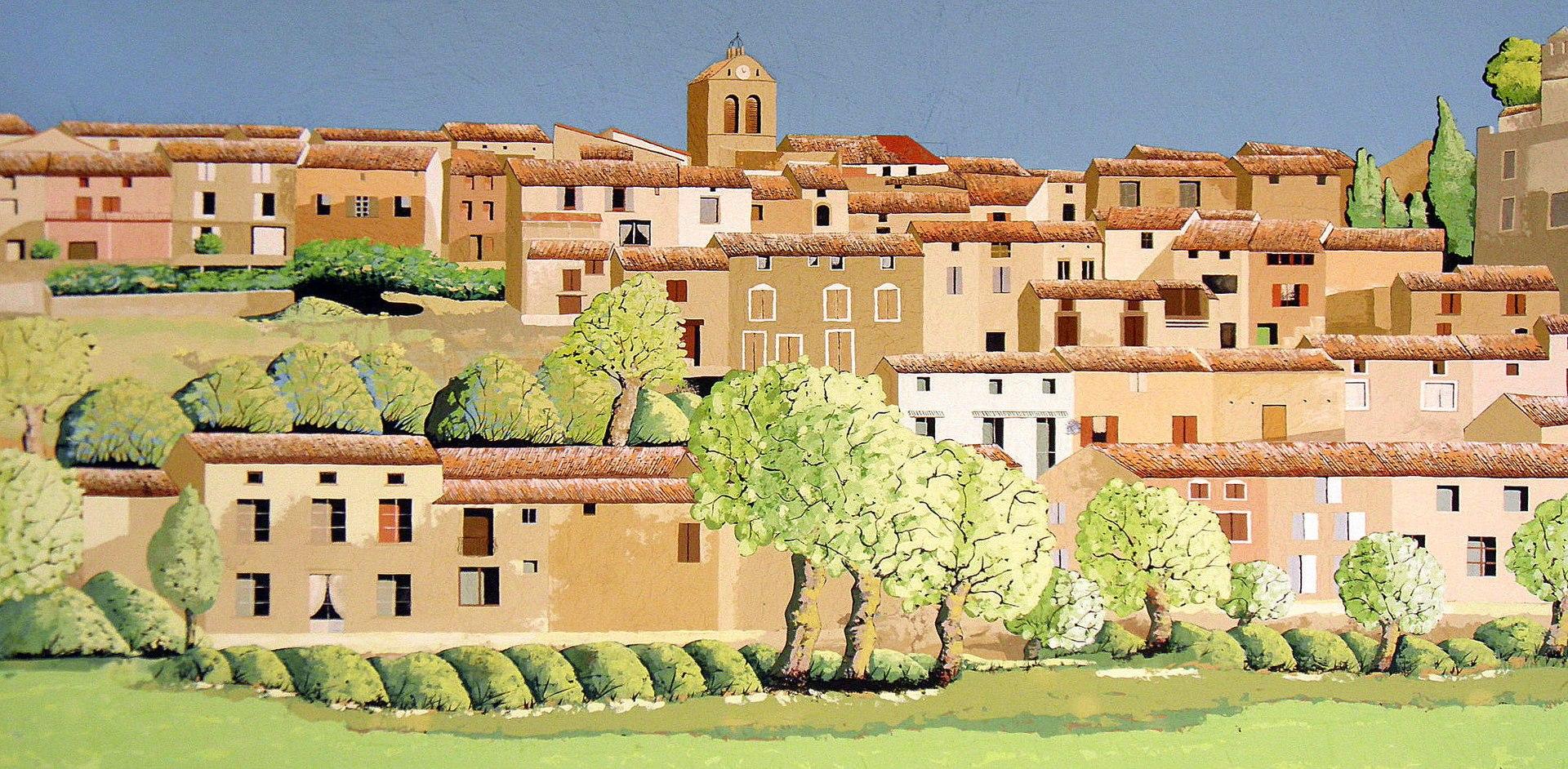 Fresque représentant le village de Raissac-sur-Lampy.
