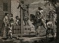 Ralpho hangs a violin above a pair of stocks as Hudibras lea Wellcome V0049153.jpg