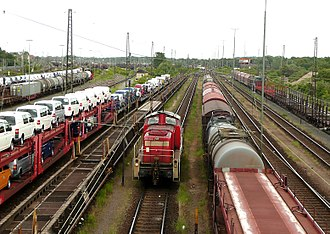 Rolling stock - Variety of rolling stock in rail yard