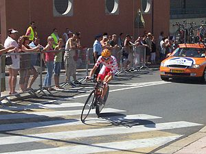 Michael Rasmussen - Michael Rasmussen in the polka dot jersey as leader of the mountains classification in the 2006 Tour de France