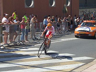 Michael Rasmussen (cyclist) - Michael Rasmussen in the polka dot jersey as leader of the mountains classification in the 2006 Tour de France