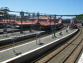 Redfern railway station - Northbound view from Platform 10 in October 2011