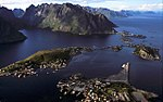 Lofoten islands from above. Settlements and mountains.
