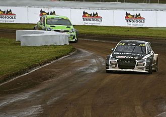 """2017 FIA World Rallycross Championship - Reinis Nitišs (foreground) moved to EKS, while """"Csucsu"""" made his WorldRX debut"""