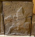 Relief orthostat showing a horseman holding a shield and wearing a helmet. From Sam'al citadel. 9th century BC. Museum of the Ancient Orient, Istanbul.jpg
