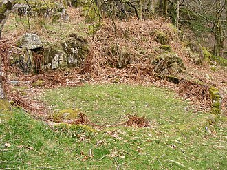 Buddle pit - Remain of Buddle pit in Cwm Bychan. Another buddle pit nearby still retains the central cone.